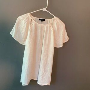 1. State Crepe Blouse Short Sleeve White Flowy